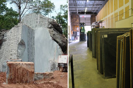 Soapstone quarry and rough soapstone slabs in our warehouse